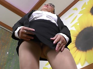 Sweet granny Karina G pleases her hairy pussy with a toy
