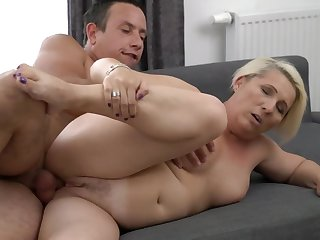 A granny with a fat ass is doing a blow vocation in a sexy activity