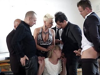 Popular Dutch bitch Jentina Small is fucked wide of several well endowed studs