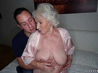 Busty mature granny Norma swallows every last recklessness of cum