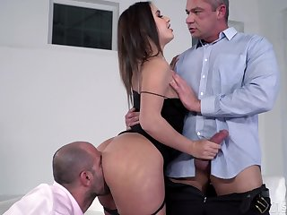 Lana Roy can alone cum with two cocks pounding her holes hardcore