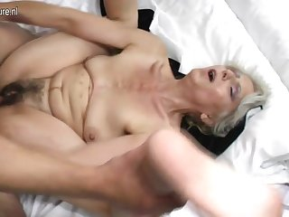 Hairy grandma hard fucked overwrought young suitor