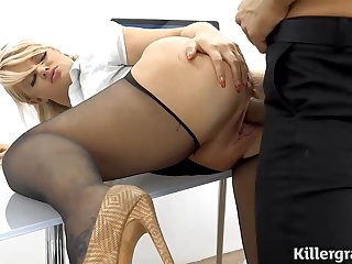 Milf hot office whore fucked over an obstacle desk