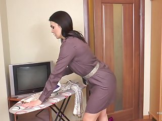 Prudish milf Kristina Ray does the household chores