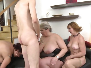 Mature mothers sharing duo lucky son s cock