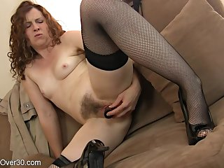 hotness mother I´d cognate with to fuck lady plays with will not hear of hairy coochie - toys