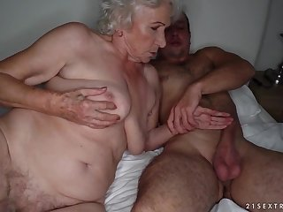 Grandma sucks a touched cock coupled with gets pounded on