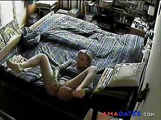 Enjoy my cute speechless masturbating on bed. Hidden cam