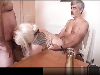 Heavy knocker british housewive Gine George gets double fucked