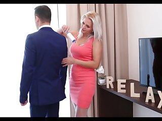 Lustful stepmom near white stockings Kathy Anderson seduces her stepson