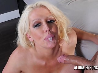 Busty blonde pornstar Alura Jenson loves having her throat fucked.