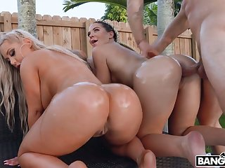 Curvy sexpot Brandi Bae enjoys wild outdoor FFM threesome every now