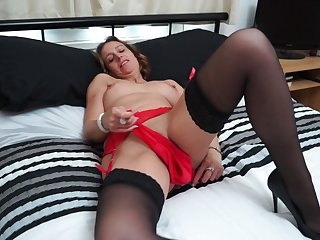 Full-grown blonde amateur Cass strips and fingers will not hear of shaved pussy
