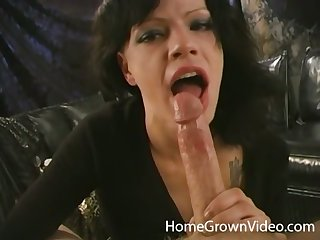 Slutty dabbler with big titties sucking a hard cock