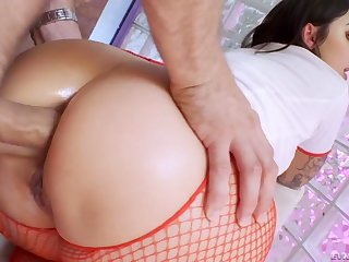 Naughty attractive curvy nurse Ivy Lebelle blows cock before sympathetic anal