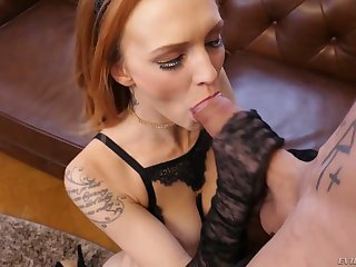 After sucking tasty cock redhead Stunner Claire rides aroused stud on top