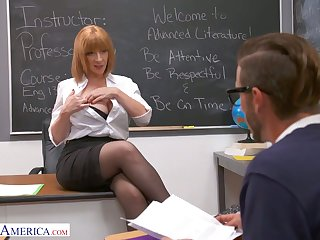Lewd and rapacious MILFie tutor Sara Court jester lures stud with regard to disgust fucked well