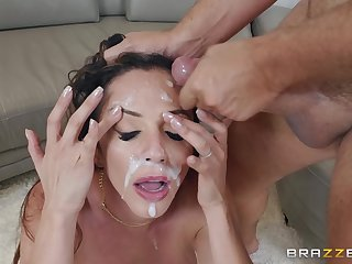 Exhale Latina MILF Ariella Ferrera saturated with cum on her face