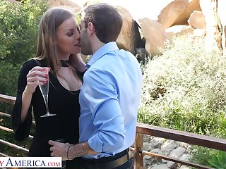 X-rated buxom handsomeness steppe stuff Britney Amber is poked doggy style