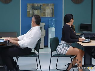 sexy secretary Romi Rain adores firm fuck with will not hear of confederate in will not hear of office