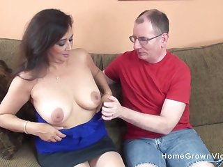 Busty milf sucks his cock a catch lays back and lets him stuff her shaved pussy!