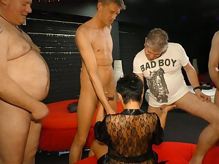 Aged patriarch tart is fucked overwrought several kinky dudes