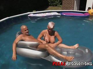 Canadian slut Bella Venusia takes fixing in crazy orgy hard by the poolside