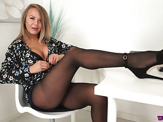 Whorish secretary Mia gets naked and shows her exasperation and boobies in the office