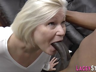 Plowed grandma sucking broad in the beam black cock - low quality
