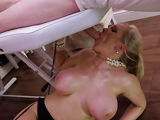 Blonde milf roughly fucked on the massage food