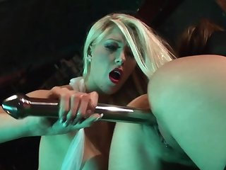 Derogatory sex down at the strip bar for two dolls