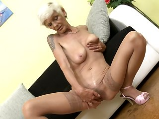 Mature short haired mart Irenka S. exposes say no to saggy tits and ass