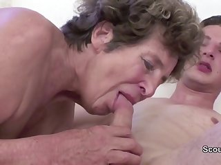 Granny Inveigle Young Cutie Catholic Schoolboy to Have Intercourse her in her AssHole