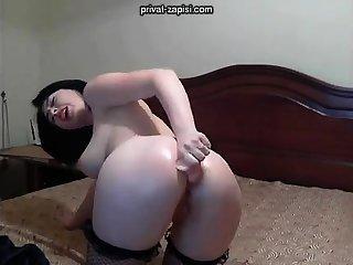 Solo promoter enjoys anal masturbation with toys
