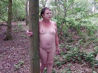 Sexy Matures Bald Slut Walk Through the Woods