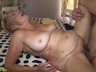 horny 8 grey hairy bush grandma gets extreme rough with an increment of deep fucked in will not hear of grey cunt