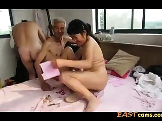 Asian Grandpa Triumvirate with mature woman