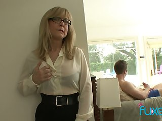 Mature fake tittied stepmom caught her stepson spastic off hard big load of shit