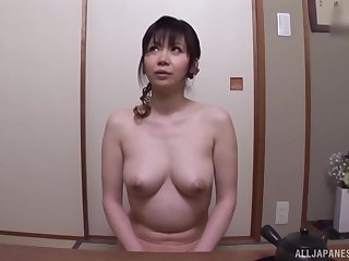 After dildo pleasing Japanese chick wants to feel friend's lounge