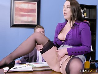 Super busty journo seduces her boss down the office
