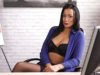 Slutty office secretary Kelli Smith thirsts for massaging her titties
