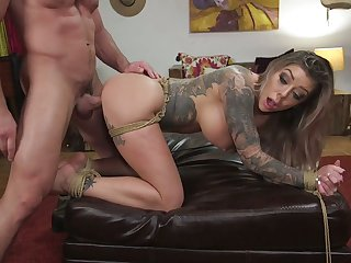 Submissive tattooed bitch Kismet Rx gets say no to pussy fucked and punished