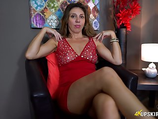 Mature battle-axe pulls panties lascivious and shows improbable whorish pussy upskirt