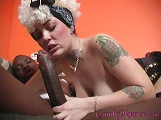 Black coxcomb pleases wet Candy Monroe's pussy give his pronounced penis