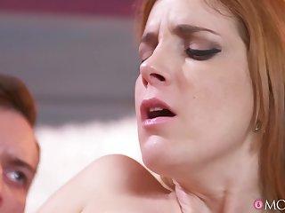 Redhead tattooed cougar Irina Vega gets shaved pussy railed