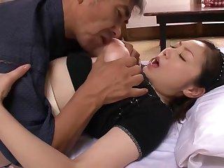 Busty Japanese Mature fucks 2 men