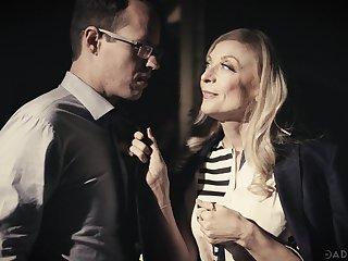 Hot cougar Nina Hartley fucks her stepdaughter's BF