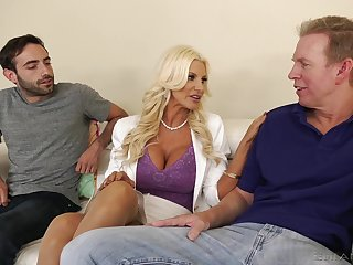 Giant racked blonde MILF Brittany Andrews works on three fat boner cocks