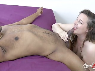 Black gigolo fucks oversize characterless woman Night before together with cums in her puffy snatch