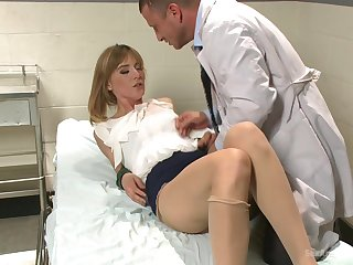 Milf with small tits, abiding sex with the horny doc with a fat dick